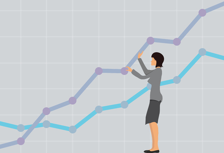 benchmarks: Business concept, successful businesswoman with a growing chart. Vector illustration