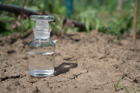 Glass bottle with water or fertilizer on dry cracked soil