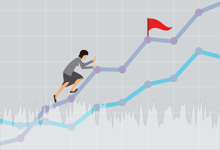 Businesswoman climbing up the rising financial chart. Business concept. Vector illustration.