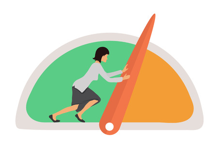 benchmarks: Benchmarking concept illustration. Businesswoman and Speedometer, manometer or general indicators with needles, vector icon Illustration