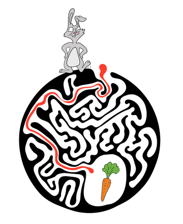 Vector maze puzzle for kids with rabbit and carrot, labyrinth illustration with solution. Illustration