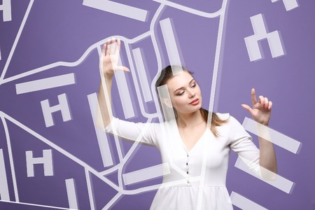 topographical: Future technology, navigation, location concept. Woman showing transparent screen with gps navigator map. Violet background.