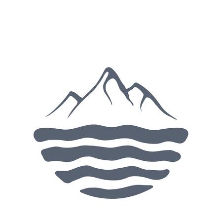 mountaintop: Mountain range or island over a lake, sea or ocean, outdoor