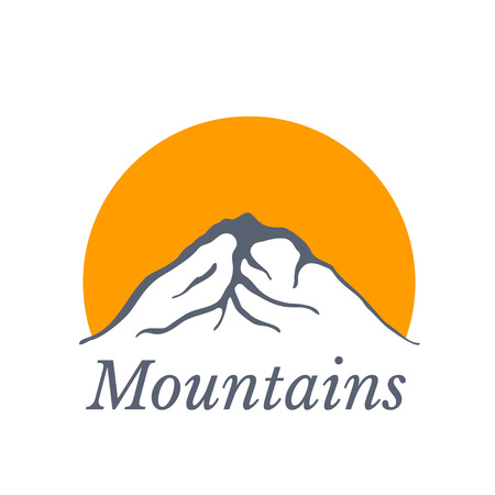 ascend: Mountains with sun , vector icon illustration Illustration