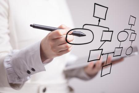Znana sieć działań rysunku, pojęcie procesów biznesowych na szarym tle. Zdjęcie Seryjne