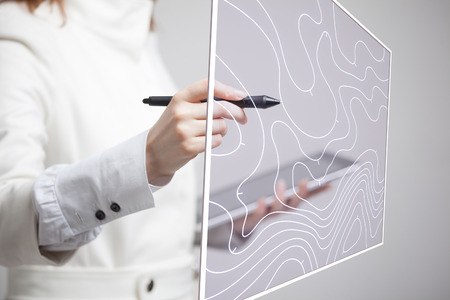 Geographic information systems concept, woman scientist working with futuristic interface in GIS software on a transparent screen.