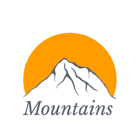 alpinism: Mountains with sun Illustration