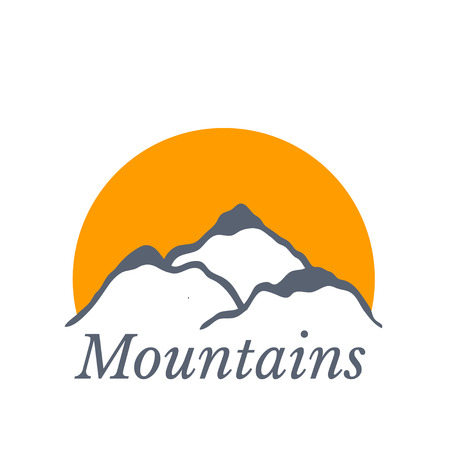 ascent: Mountains with sun Illustration