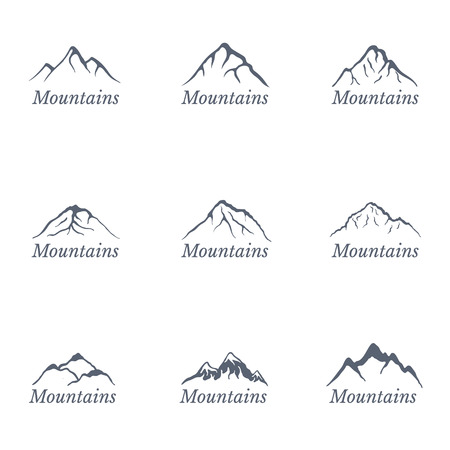 moutain climbing: Mountain landscape set, vector illustration Illustration
