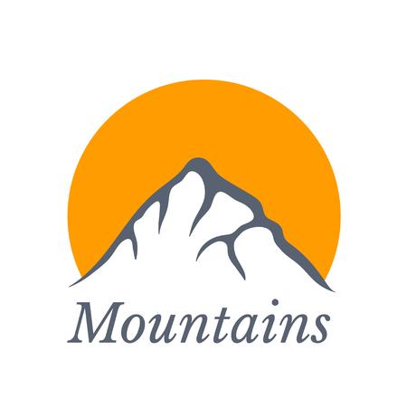 alpinism: Mountains with sun , vector icon illustration Illustration