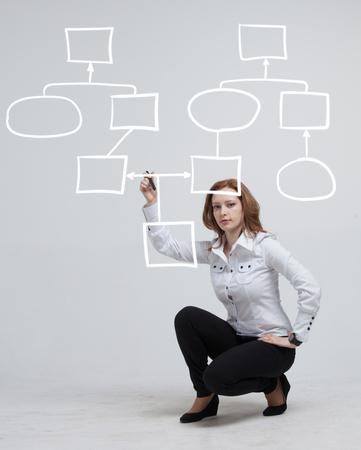 mindmap: Businesswoman drawing flowchart, business process concept on grey background.