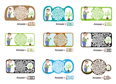 lost child: Set of vector maze puzzle for kids with gardener and flower, labyrinth illustration with solution.