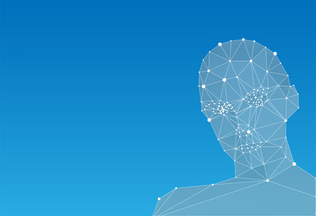 abstract: Abstract human head on blue background