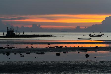 seascape of Koh Samui, Thailand. Boats at sunset.
