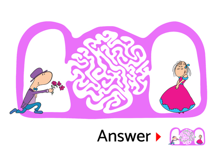 black man thinking: Maze puzzle for kids with man and woman in love, labyrinth illustration with solution.