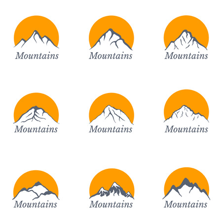 Mountains set with sun , vector illustration