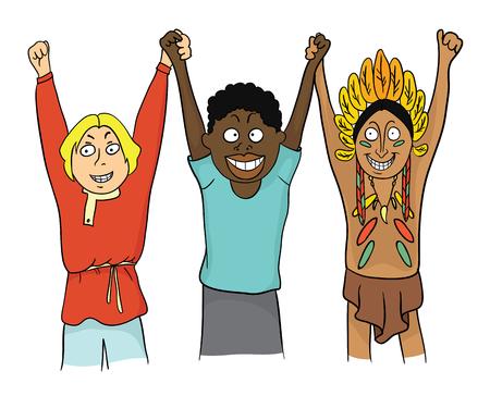 Menschen verschiedener Nationen halten Hände. Konzept zum Thema Freundschaft der Völker. Vektor-Illustration Standard-Bild - 76828582