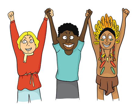 People of different Nations hold hands. Concept on the theme of friendship of peoples. Vector illustration. Illustration