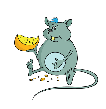 excess: Happy fat mouse holding a piece of cheese, vector illustration. Illustration