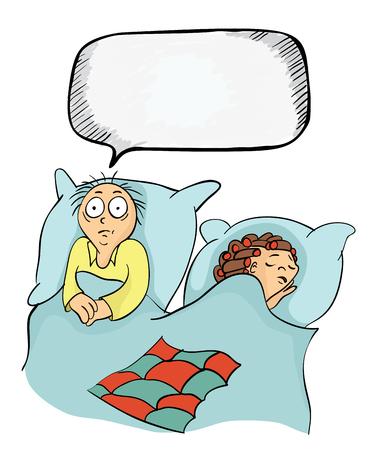남자와 여자 침대입니다. 불면증 또는 발기 부전, 배우자 간의 문제에 관한 개념. 벡터 만화 일러스트 레이 션. 일러스트