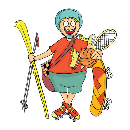 Happy boy with sports equipment. Activity in the fresh air. Vector illustration.