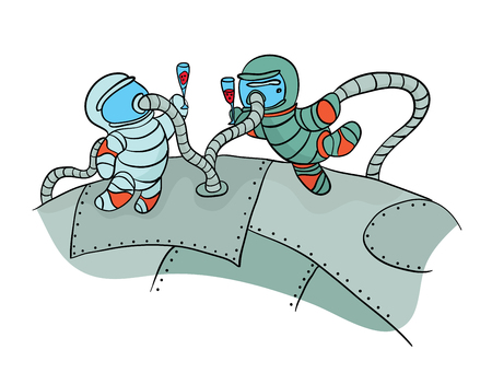 Two cosmonauts drinking wine in outer space. Funny picture to the day of cosmonautics. Vector Illustration, isolated on white background.