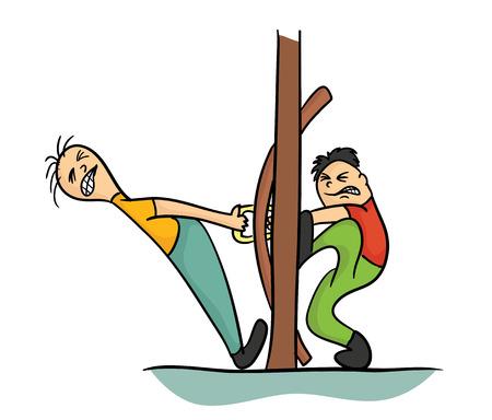 Personaje de dibujos animados dos tratando de abrir la puerta, ilustración vectorial, aislado en blanco.