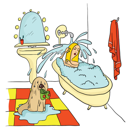 Girl lying in the bath under running water, The dog is holding in his teeth Slippers. Vector illustration.