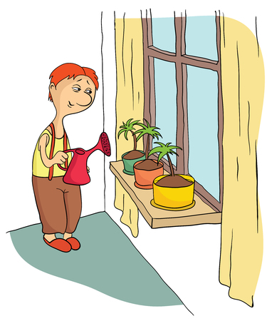 Young man watering flowers standing on the window sill. Vector illustration.