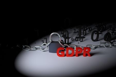GDPR 개념 그림. 일반 데이터 보호 규정, 개인 데이터 보호. 잠금이있는 데이터 및 체인. 3d 렌더링 그림.