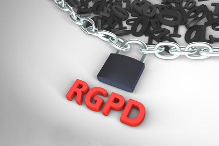 RGPD, Spanish and Italian version version of GDPR: Regolamento generale sulla protezione dei dati. Concept 3d rendering with copyspace. General Data Protection Regulation. Stock Photo
