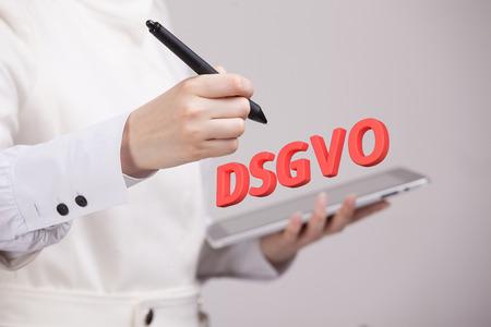 DSGVO, german version of GDPR, concept image. General Data Protection Regulation, protection of personal data. Datenschutz-Grundverordnung.