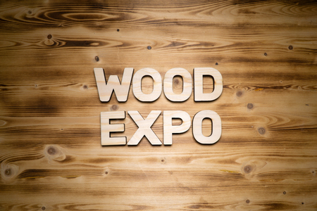 WOOD EXPO words made of wooden block letters on wooden board. 版權商用圖片