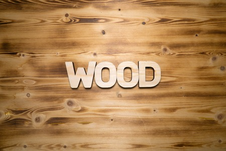 WOOD word made with building blocks on wooden board