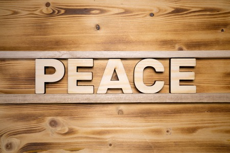 PEACE word made with building blocks on wooden board