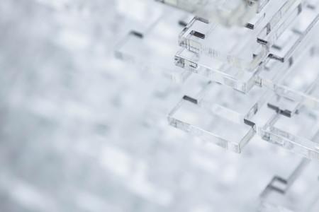 Priorità bassa alta tecnologia astratta. Dettagli in plastica trasparente o vetro.