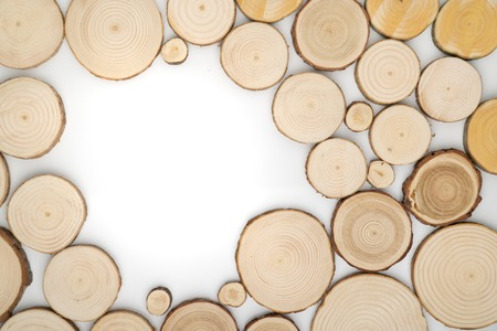Pine tree cross-sections with annual rings on white background. Lumber piece close-up, top view. Imagens