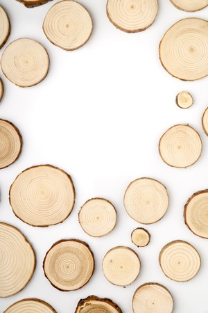 Pine tree cross-sections with annual rings on white background. Lumber piece close-up, top view. 版權商用圖片