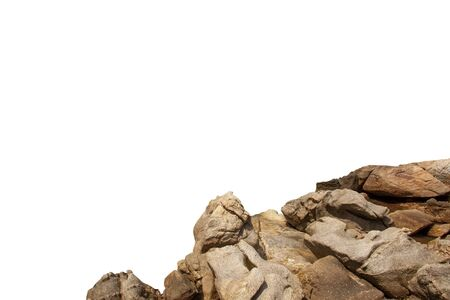Rock mountain slope or top foreground close-up isolated on white background. Element for matte painting, copy space.