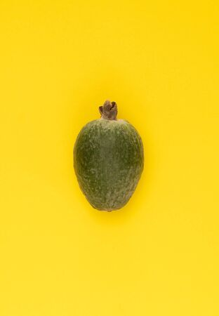 Fresh feijoa fruit on bright yellow background. Studio close-up shot.
