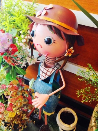 eye: Doll and flower in coffee shop  Chiangmai Thailand