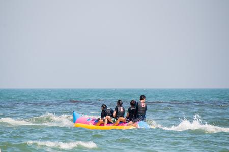 hua: Prachuap Khiri Khan, Thailand - Dec 25: people enjoy on the beach at Hua Hin on Dec 25, 2016 in Prachuap Khiri Khan, Thailand Editorial
