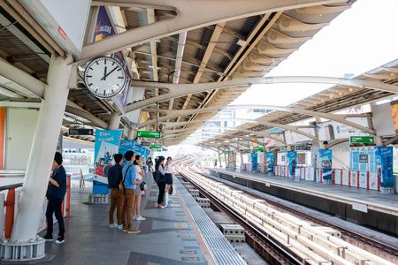 Bangkok, Thailand- Mar 19 :BTS Skytrain at a station people waiting the train on Mar 19, 2017 in Bangkok , Thailand Editorial