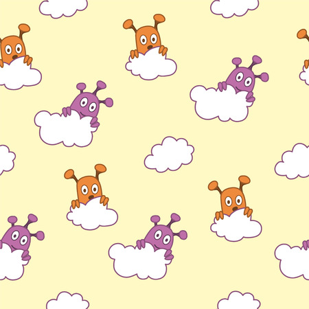 hiding: Yellow seamless pattern with aliens hiding behind the clouds.