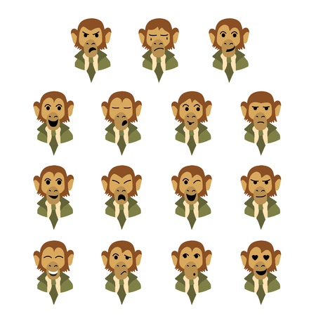 disappoint: Flat set of expressions of monkey-bisnessman
