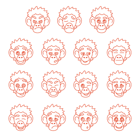 contour: Contour set of monkey face expressions