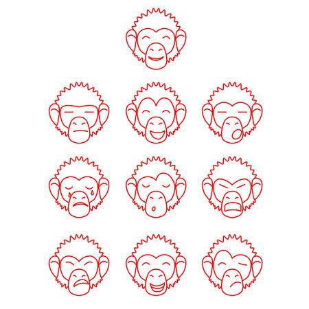 contour: Contour set of monkey face expressions