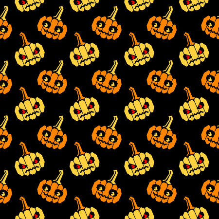 slanted: Seamless halloween pattern with orange and yellow pumpkins with geometrical shape, slightly slanted