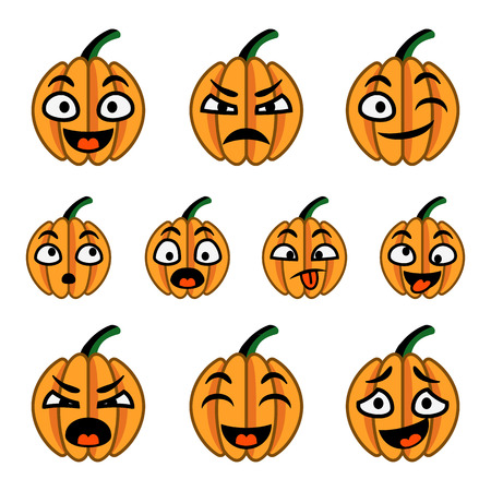 Orange cartoon pumpkins set with various emotions.