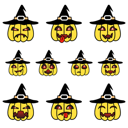 angry vegetable: Yellow cartoon pumpkins wearing witch hat set with various emotions.